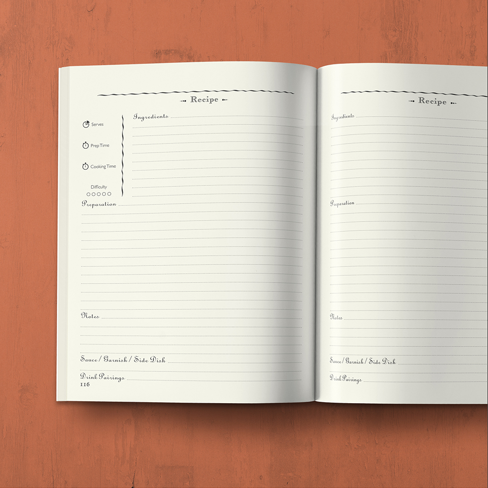 My Cookbook : Recipe Journal - Organized into sections by type of dish - by MAGOT Books - open