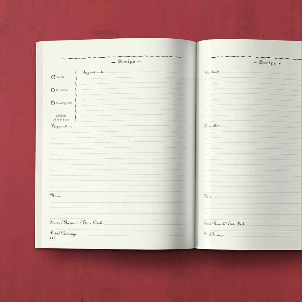 My Cookbook : Recipe Journal - With customizable sections - by MAGOT Books - open